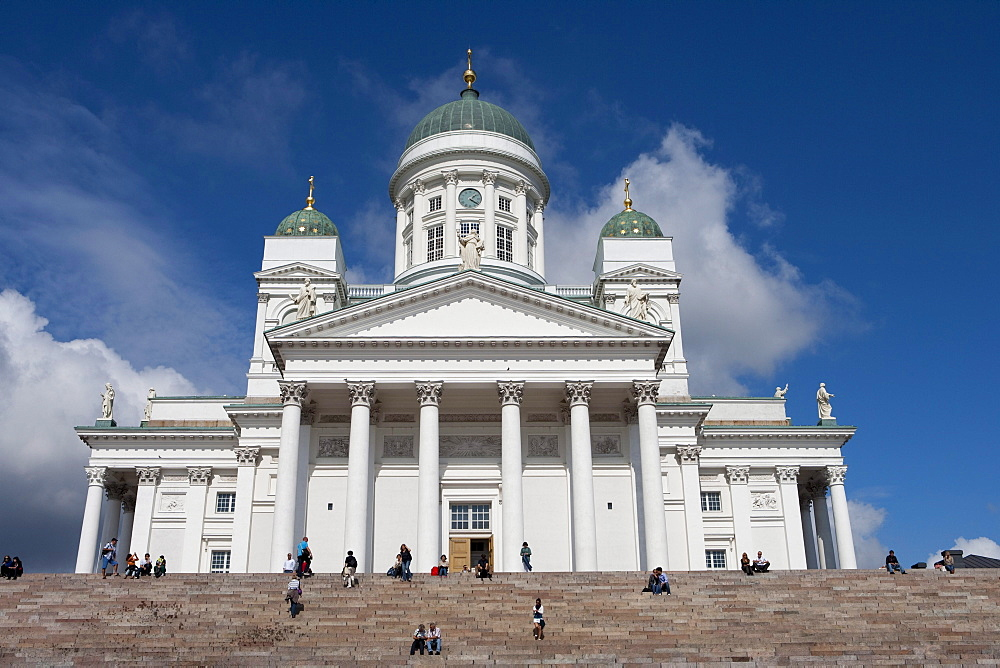 People on steps in front of Helsinki Cathedral, Helsinki, Southern Finland, Finland