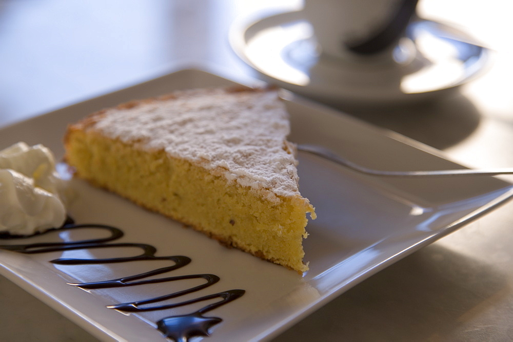 Delicious Almond Cake at Cafe es Trast, Banyalbufar, Mallorca, Balearic Islands, Spain