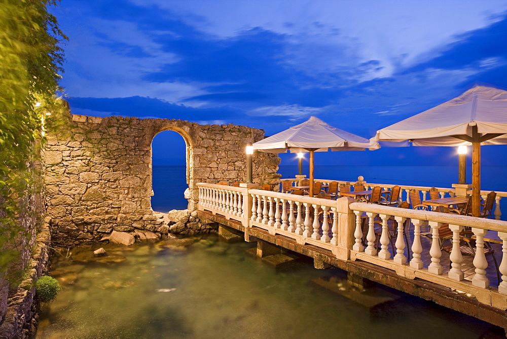 Terrace of a restaurant in the evening, Njivice, Kvarner Gulf, Krk Island, Croatia, Europe