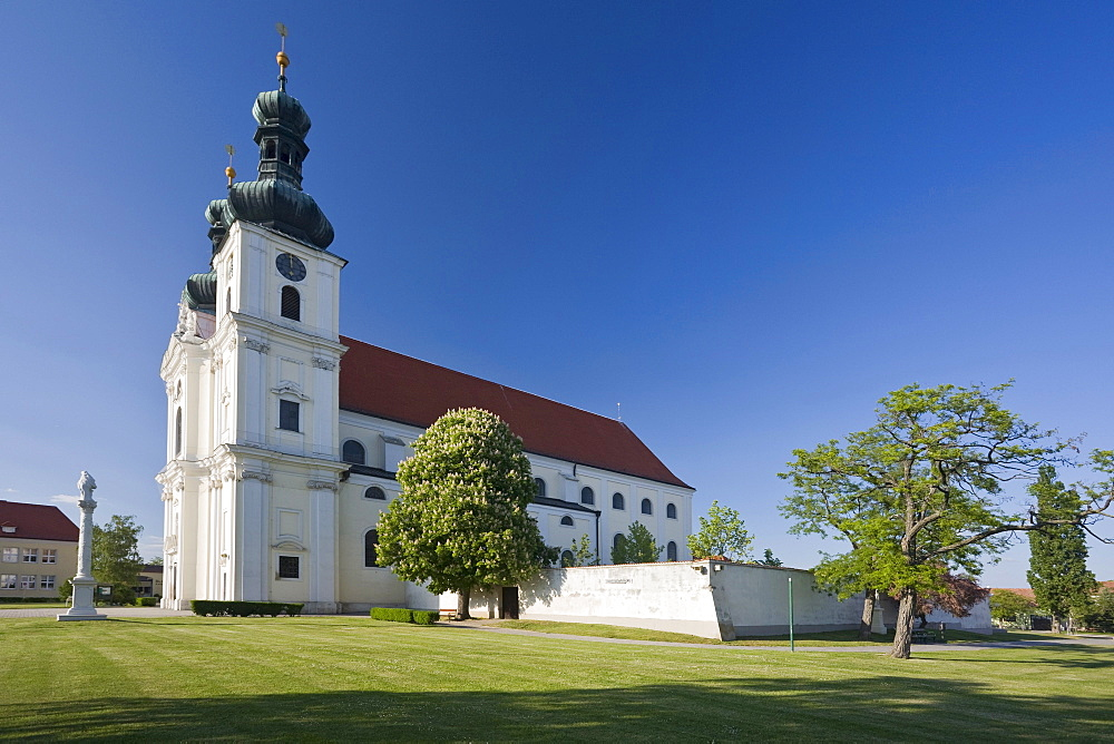 Basilica under blue sky, Frauenkirchen, Lake Neusiedl region, Burgenland, Austria, Europe