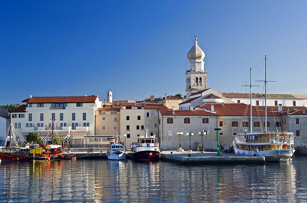 View of houses and steeple of the town of Krk, Kvarner Gulf, Krk Island, Istria, Croatia, Europe