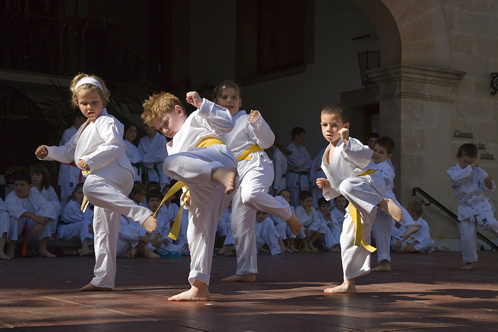 Children Displaying Martial Arts at Soller Plaza, Soller, Mallorca, Balearic Islands, Spain