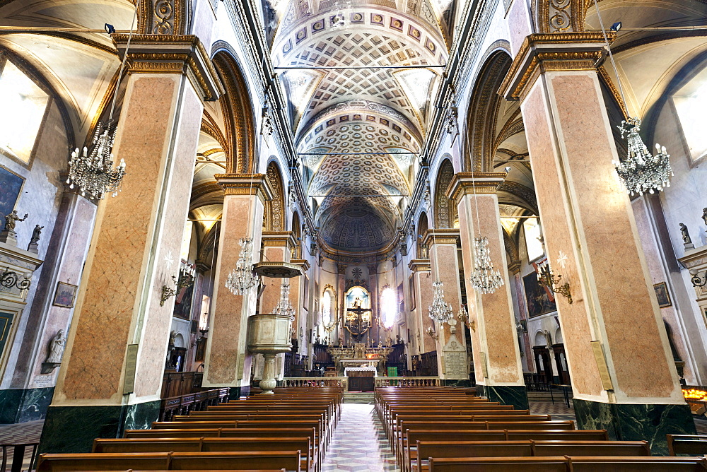 Ste Marie Cathedral, Baroque interior, Terra Nova, Bastia, Corsica, France