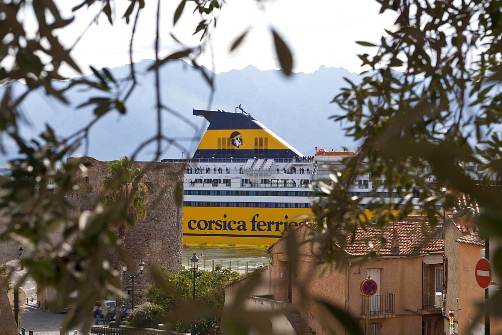 Ferry docks in the harbor of Calvi, Corsica, France
