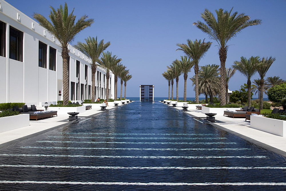 The Long Pool and The Spa, The Gym, The Chedi Muscat hotel, Muscat, Masqat, Oman, Arabian Peninsula