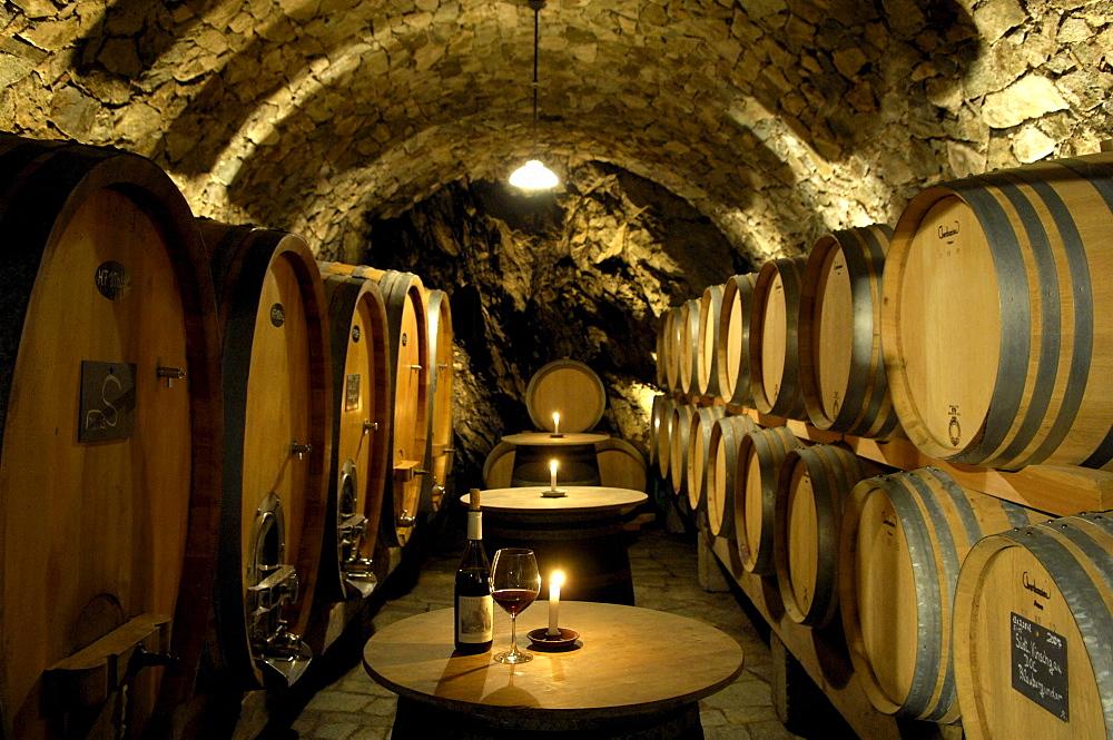 Wine barrels in the winery Juval castle, Unterortl, Val Venosta, South Tyrol, Italy, Europe