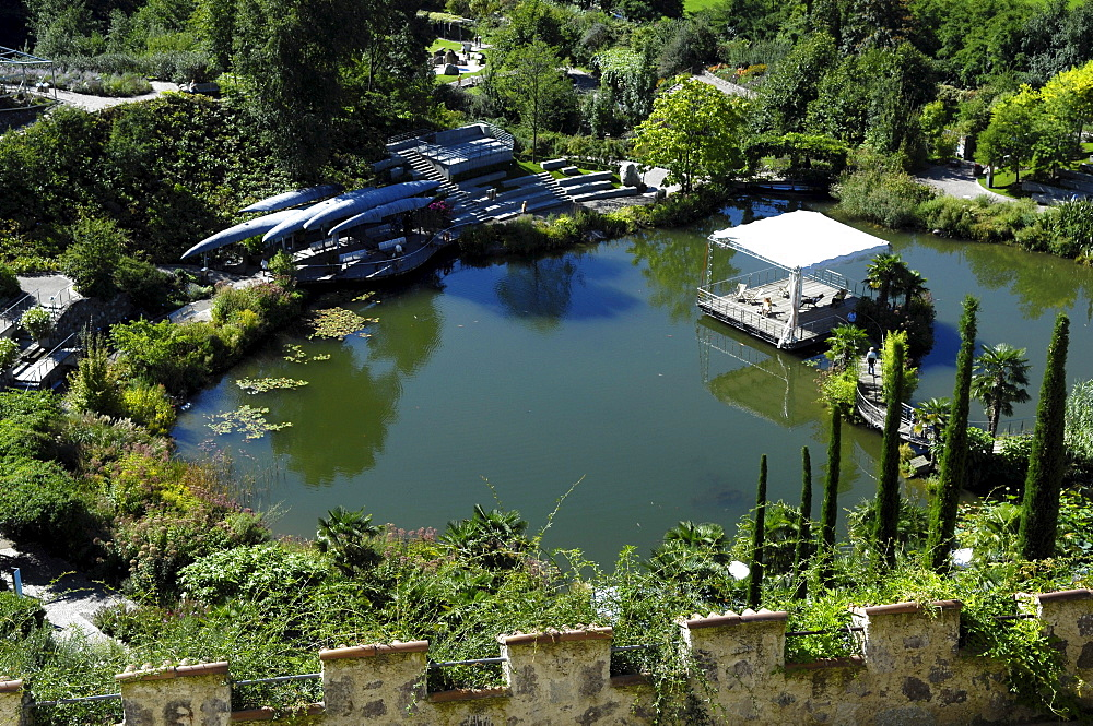 High angle view of botanical garden, Trauttmannsdorff castle, Merano, Alto Adige, South Tyrol, Italy, Europe