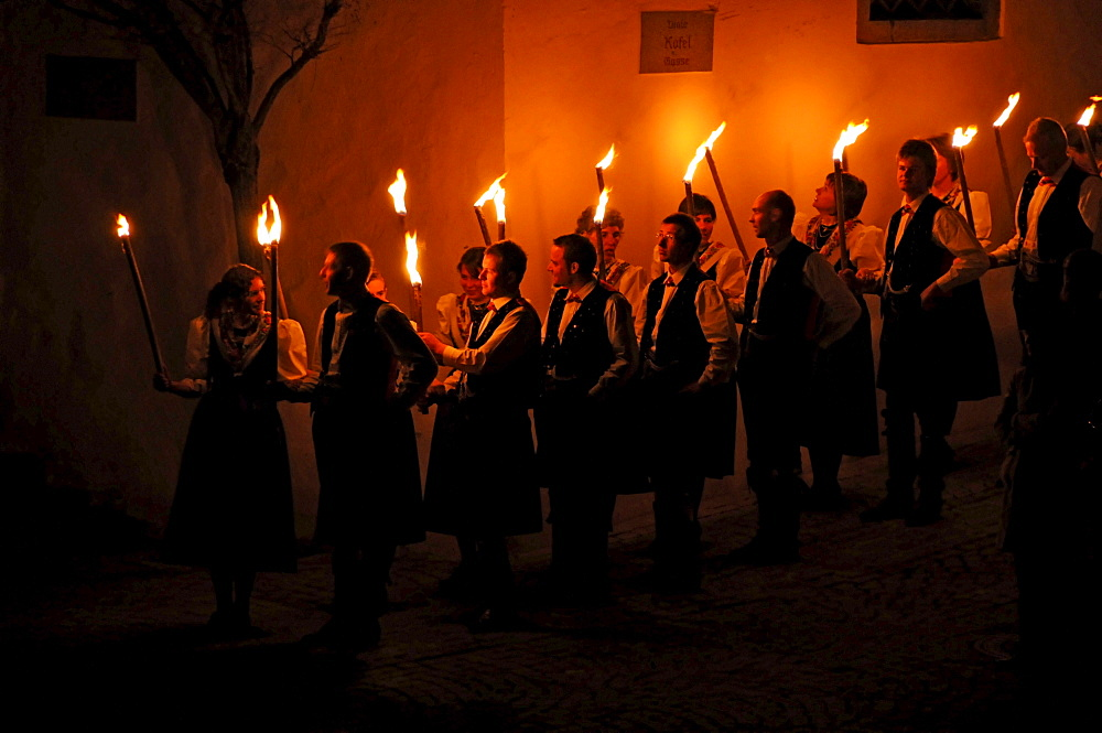 Torch procession at Easter at night, Alto Adige, South Tyrol, Italy, Europe