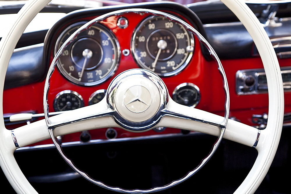 Steering wheel of a Mercedes vintage car, Schenna, Alto Adige, South Tyrol, Italy, Europe