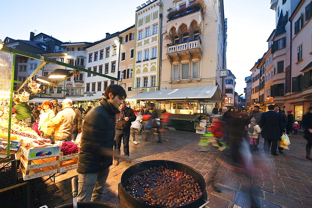 People on the street at the old town in the evening, Bolzano, South Tyrol, Alto Adige, Italy, Europe