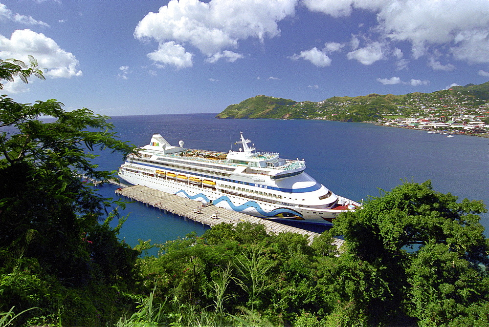 Cruise ship Aida in a bay, Kingstown, St. Vincent, Caribbean, America