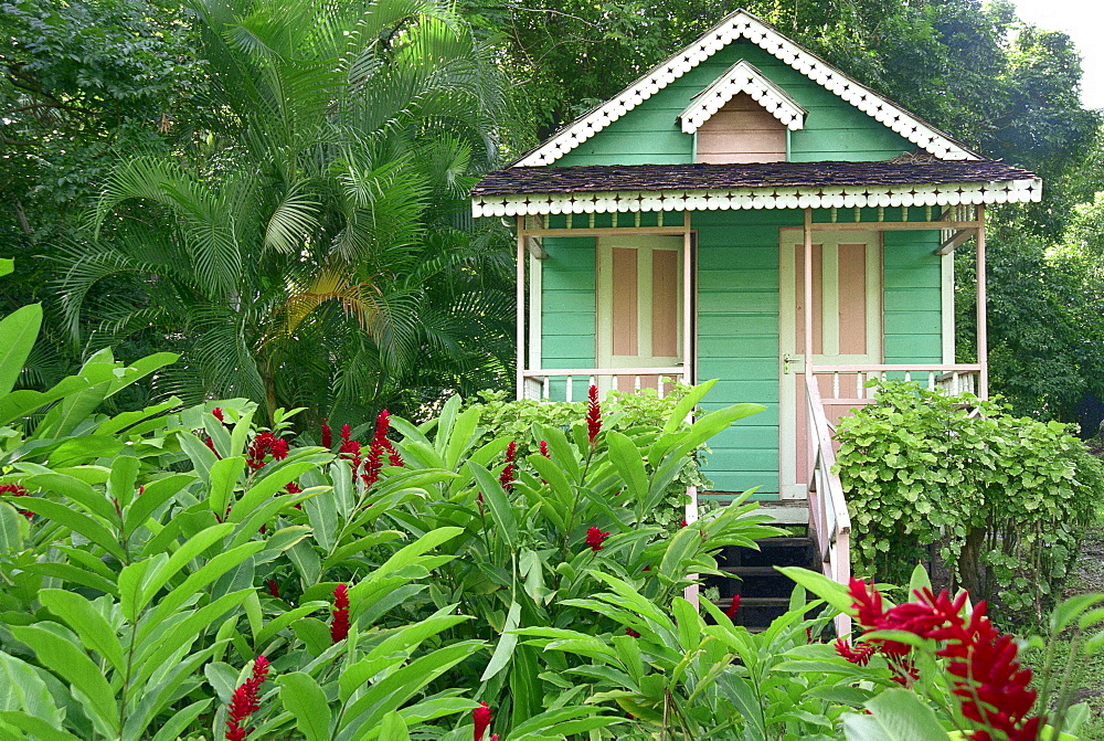 Little wooden house in La Sikwi, St. Lucia, Caribbean, America