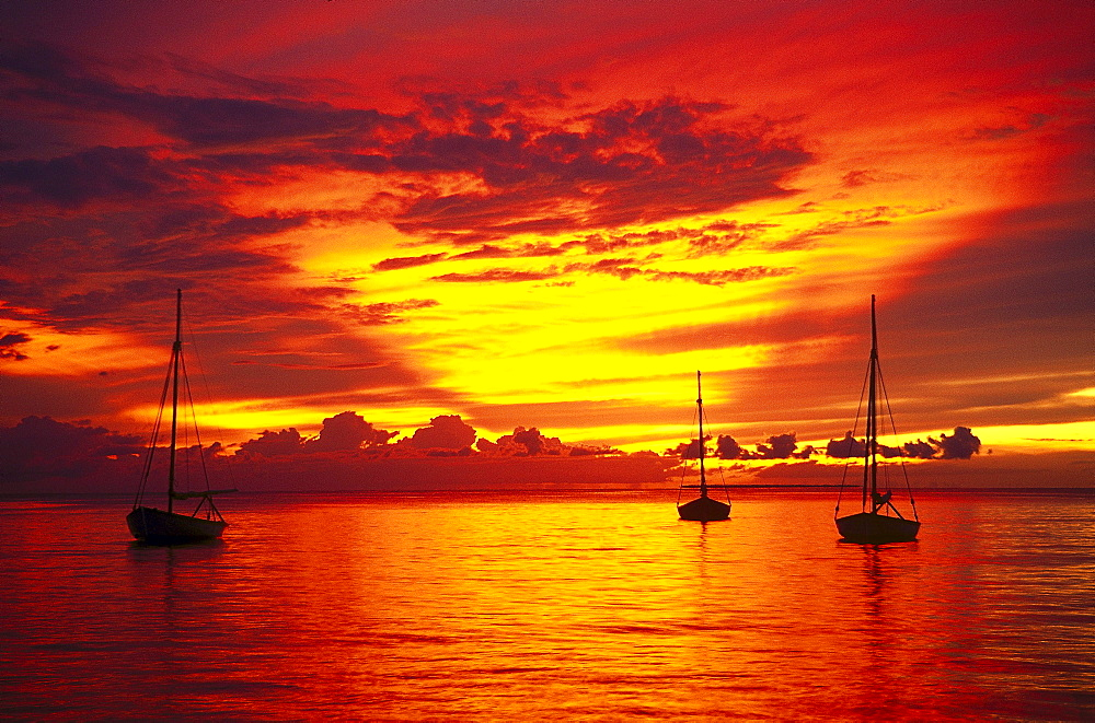 Sunset over the sea, Bayahibe, South coast, Dominican Republic, Caribbean, America