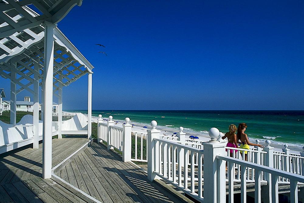 Girls going downstairs to the beach, Panama City Beach, Santa Rosa Island, Florida, USA, America