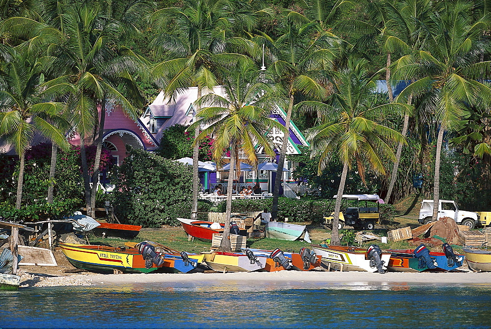 Fishing boats on the beach beneath palm trees, Britania Bay, Mustique island, St. Vincent, Grenadines, Caribbean, America - 1113-50835