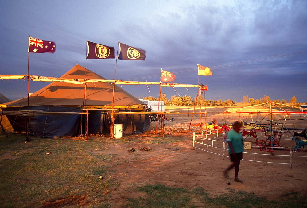 Rain approaches, boxing tent of Fred Brophy's Boxing Troupe, Boulia, Simpson Desert, Queensland, Australia