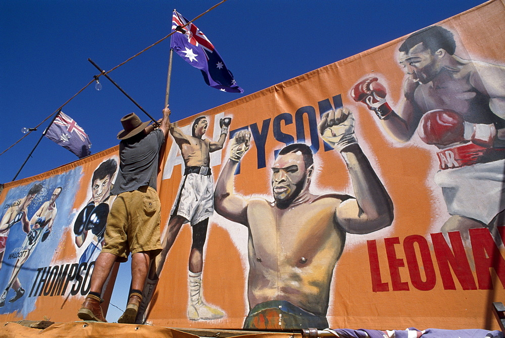 Fred sets up facade of boxing tent, Fred Brophy's Boxing Troupe, Australia