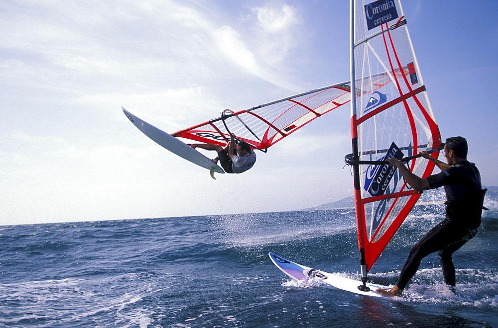 Two windsurfers, Pata Negra Surf Center, Tarifa, Costa de la Luz, Andalusia, Spain