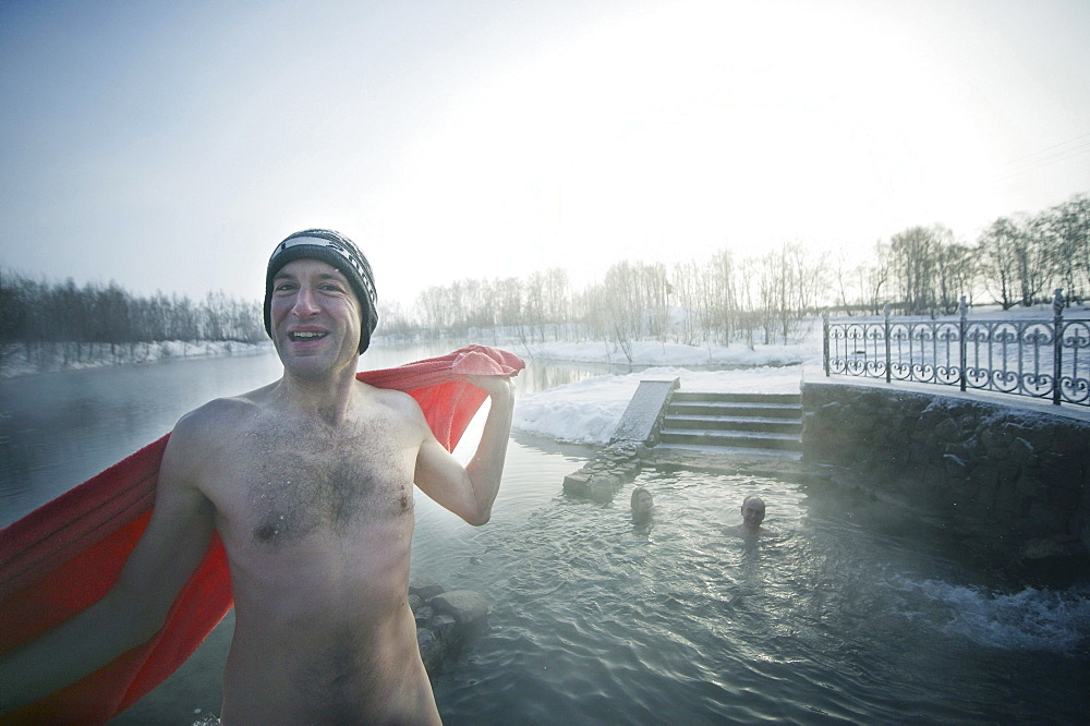 Man bathing in River in the Winter, Omsk, Sibiria, Russia