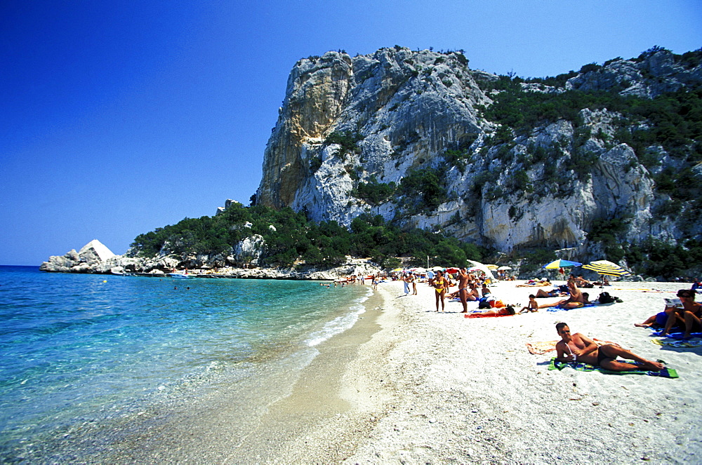 People on the beach, Cala di Luna, Golfo di Orosei, Ogliastra, Sardinia, Italy, Europe