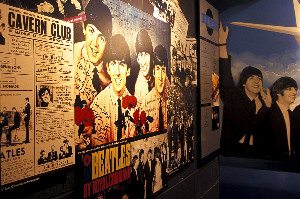 Posters and bills inside the Beatles Museum, Liverpool, England, Great Britain, Europe