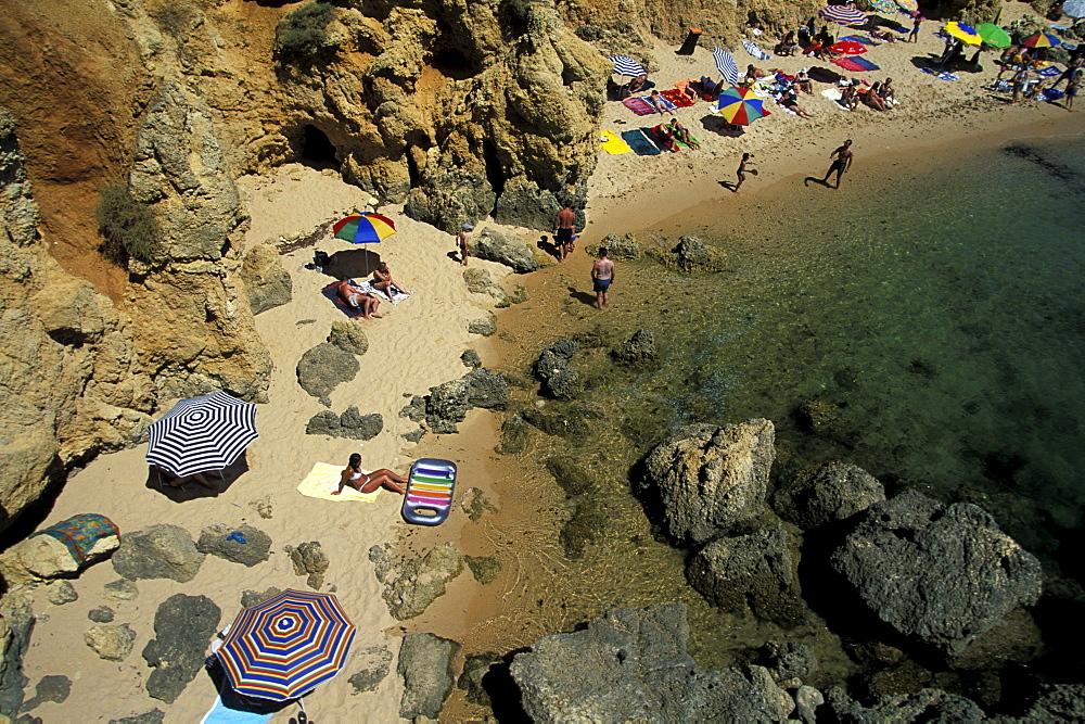 High angle view of beach in a bay, Praia Coelha, near Albufeira, Algarve, Portugal, Europe
