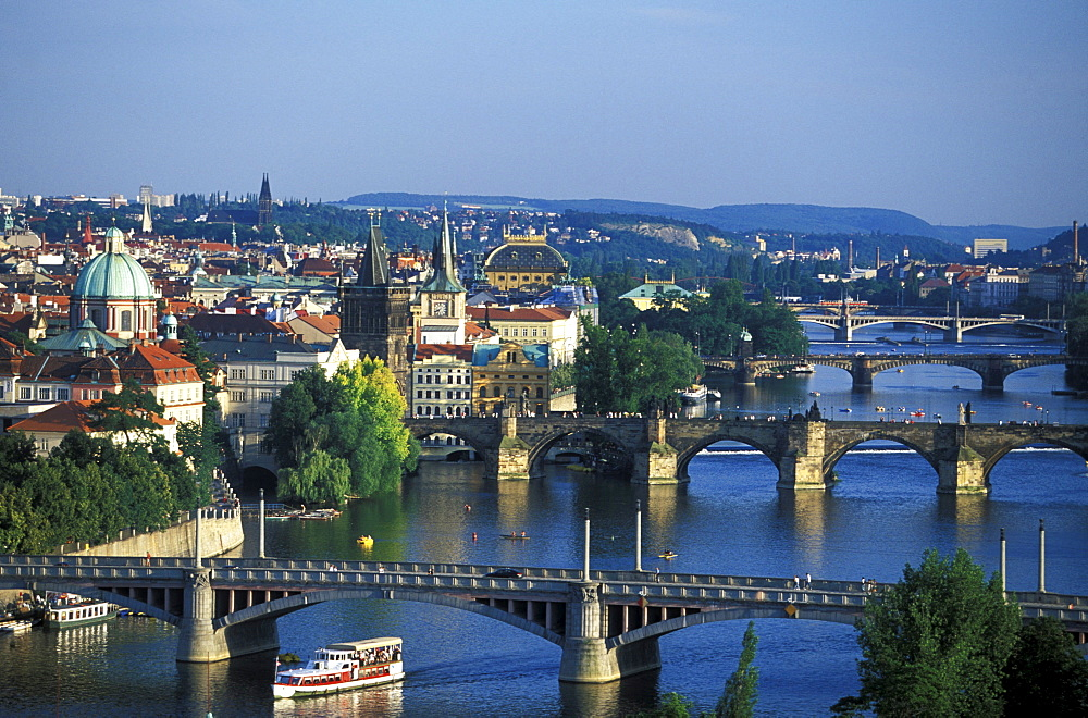View of Charles Bridge and Vltava river, Prague, Czechia, Europe