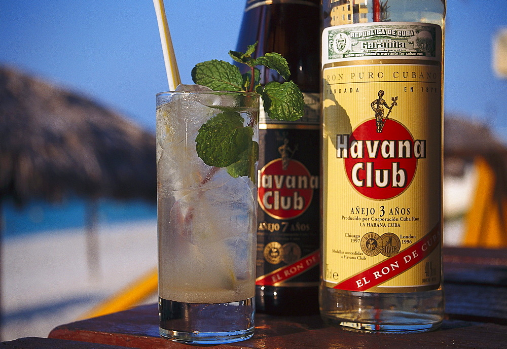 Close up of Mojito Drink and bottles of rum, Varadero Beach, Varadero, Cuba, Caribbean, America - 1113-53281