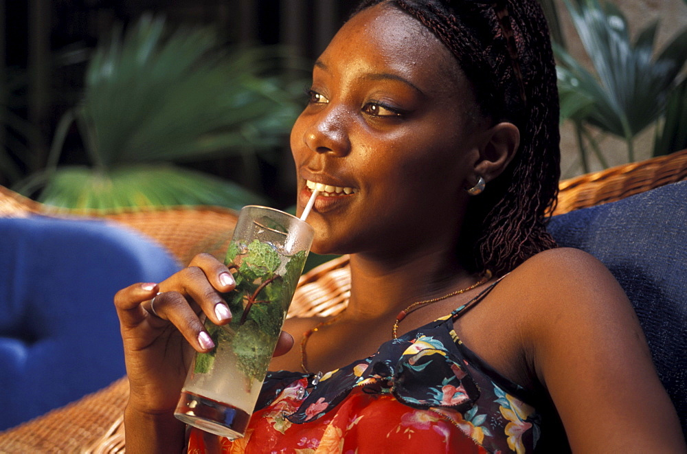 Young woman with Mojito Drink at the Hotel Florida, Havana, Cuba, Caribbean, America - 1113-53311