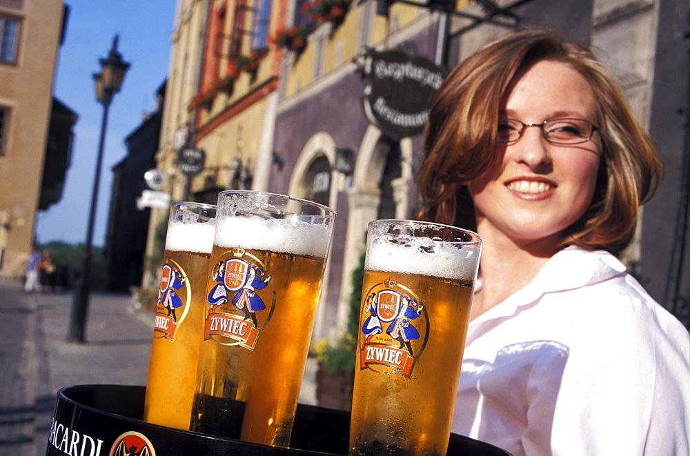 Waitress with Polish Beer, Warsaw, Poland, Europe