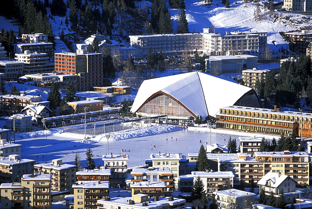 People ice-scating, Ice Stadium, Davos, Grisons, Switzerland