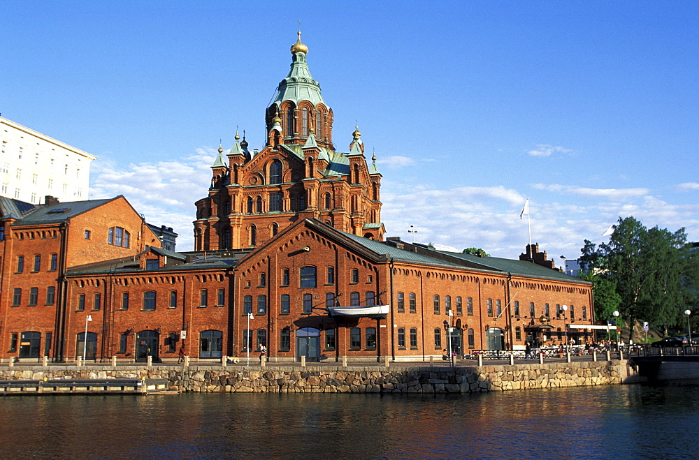 View of Uspenski cathedral at harbour, Helsinki, Finland, Europe