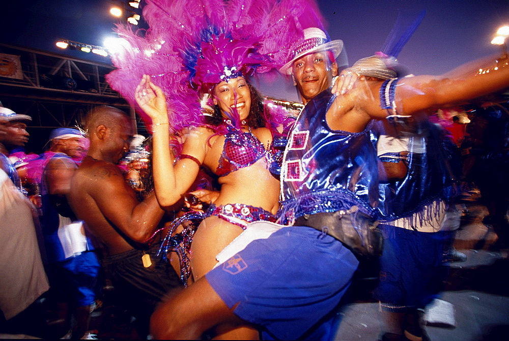 People in costumes dancing at Mardi Gras, Carnival, Port of Spain, Trinidad and Tobago, Caribbean