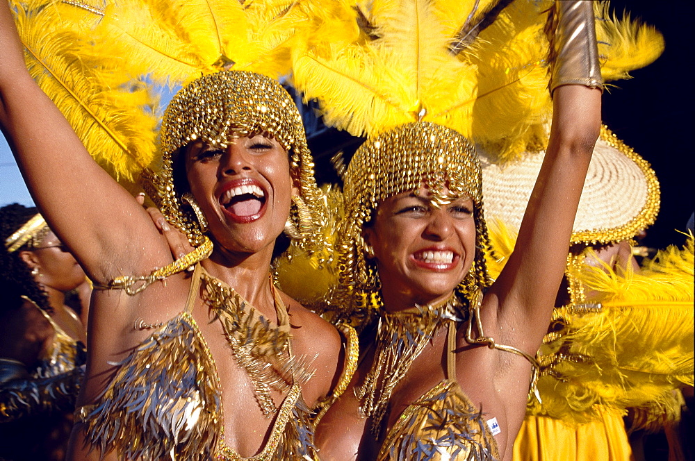 Women in costumes dancing at Mardi Gras, Port of Spain, Trinidad and Tobago