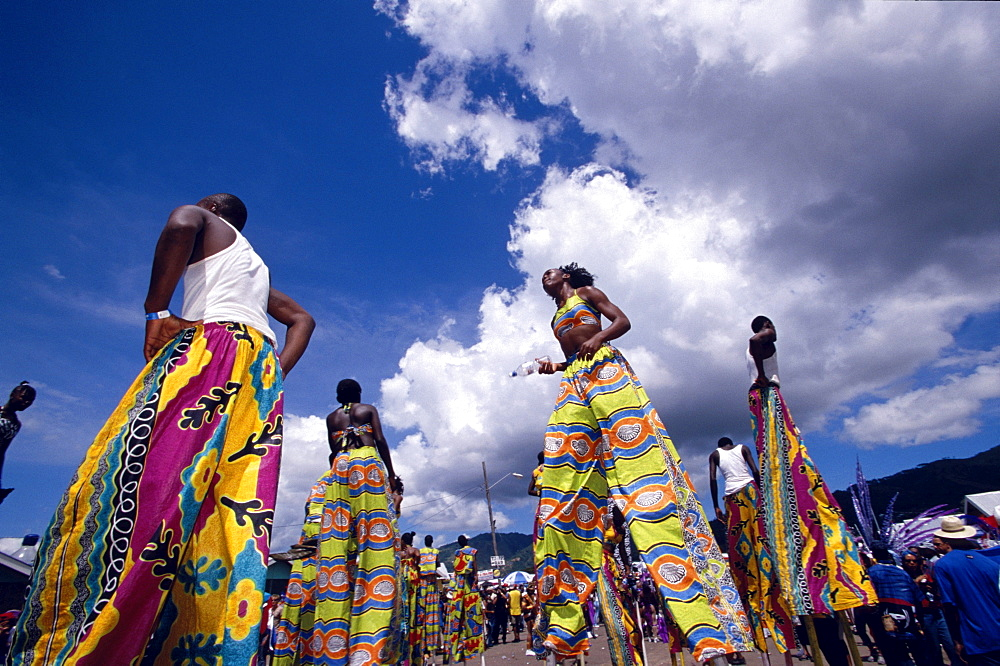 Moko Jumbies on stilts at the carnival parade, Port of Spain, Trinidad und Tobago, Caribbean