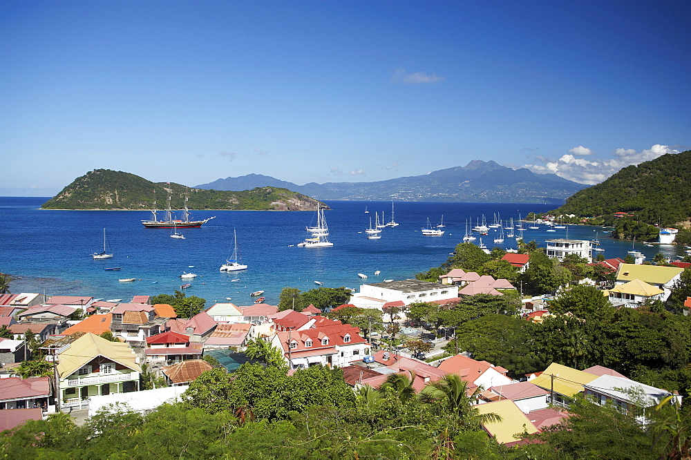 Aerial view of Terre-de-Haute, Les Saintes Islands, Guadeloupe, Caribbean Sea, America