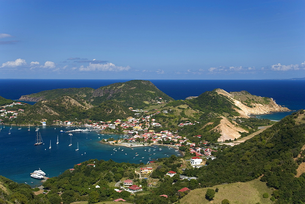 Aerial View of Terre-de-Haute, Harbour and bay, Les Saintes Islands, Guadeloupe, Caribbean Sea, America