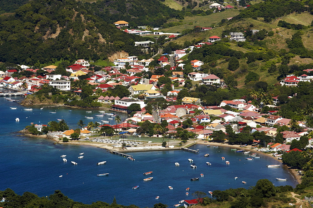 Aerial View of Terre-de-Haute with harbour and bay, Les Saintes Islands, Guadeloupe, Caribbean Sea, America