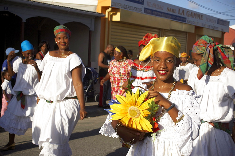 Women dressed in white at the Poppy Carnival, Le Moule, Grande-Terre, Guadeloupe, Caribbean Sea, America