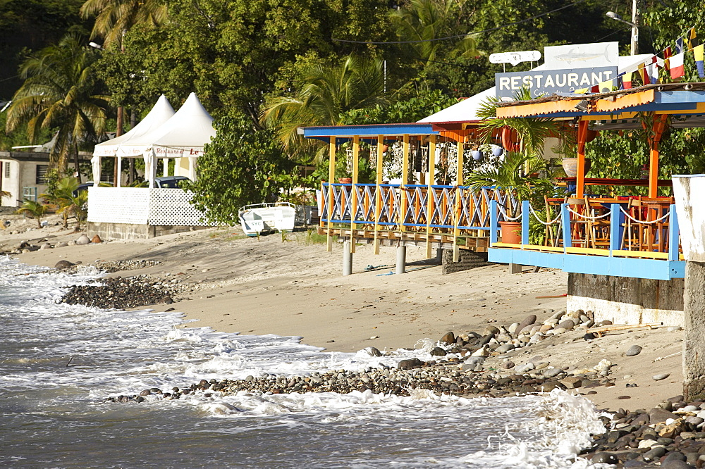 Beach bar and huts on the beach of Deshaies, Basse-Terre, Guadeloupe, Caribbean Sea, America