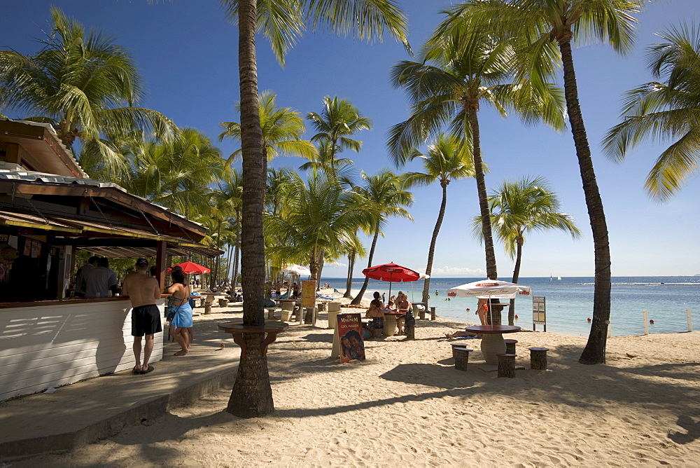 Beach bar and people beneath palm trees at Caravelle Beach, Grande-Terre, Guadeloupe, Caribbean Sea, America