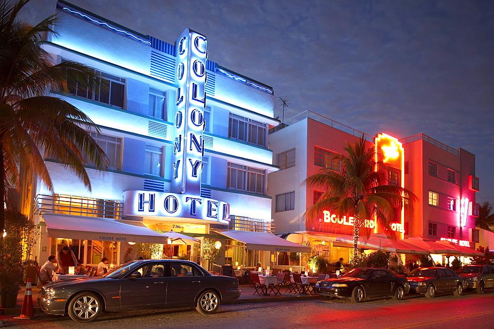The illuminated Colony hotel at night, Ocean Drive, South Beach, Miami, Florida, USA, America - 1113-53991