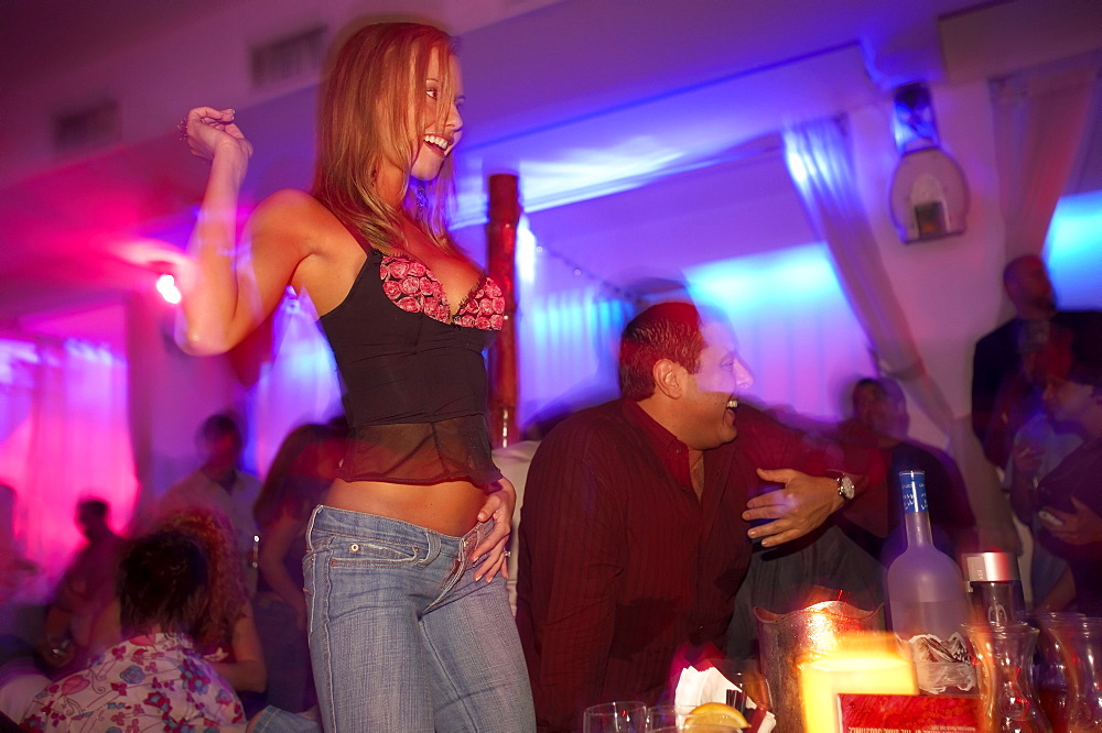 Partygirl in the BED restaurant, South Beach, Miami, Florida, USA, America