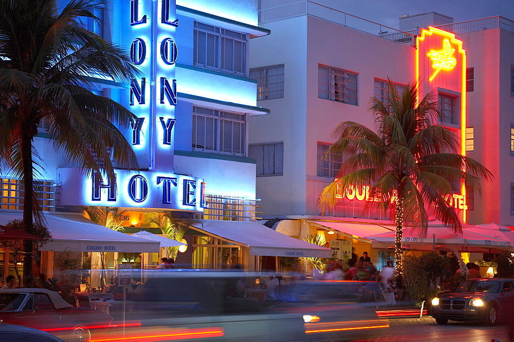 The illuminated Colony hotel at night, Ocean Drive, South Beach, Miami, Florida, USA, America