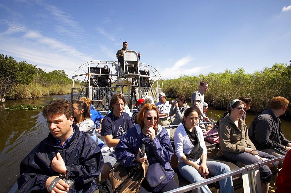 Tourists, Airboat Trip, Everglades National Park, Florida, USA