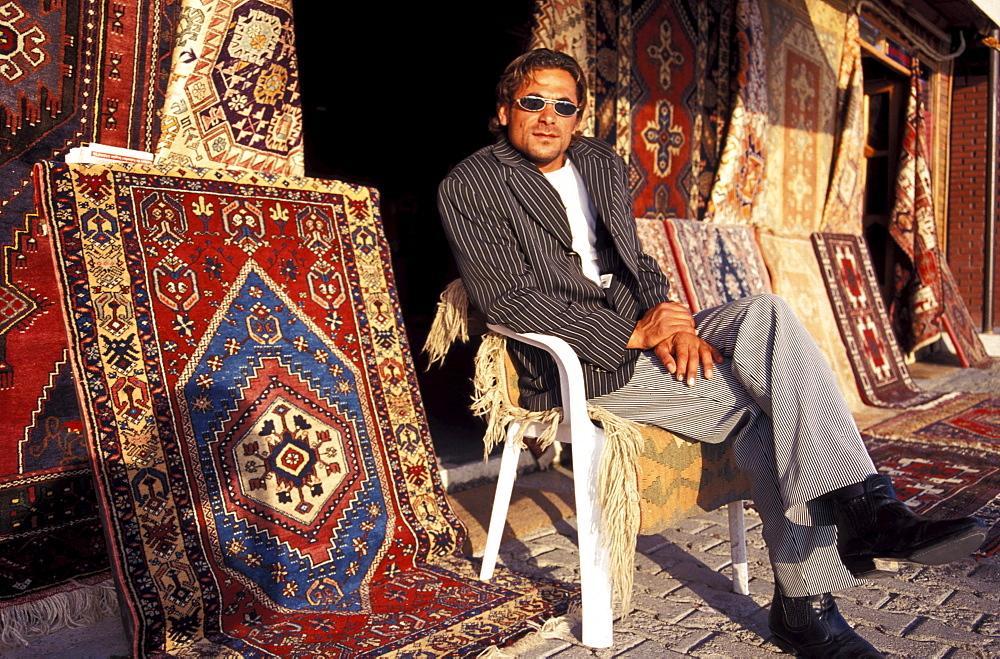 Carpet seller, Side, Turkish Riviera, Turkey