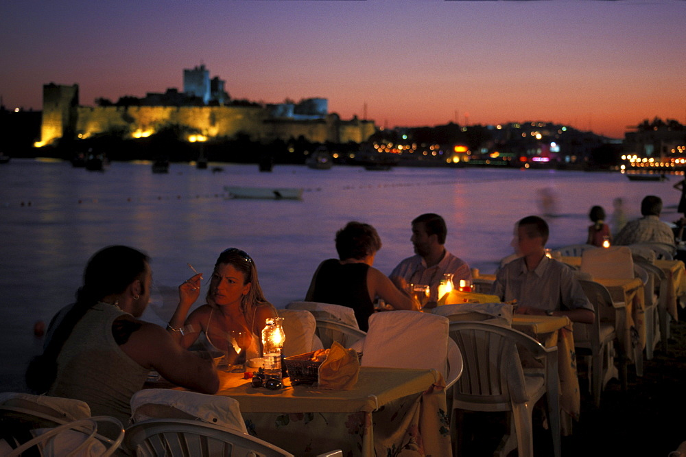 Restaurant at the sea in the evening, Nightlife, Bodrum, Turkey