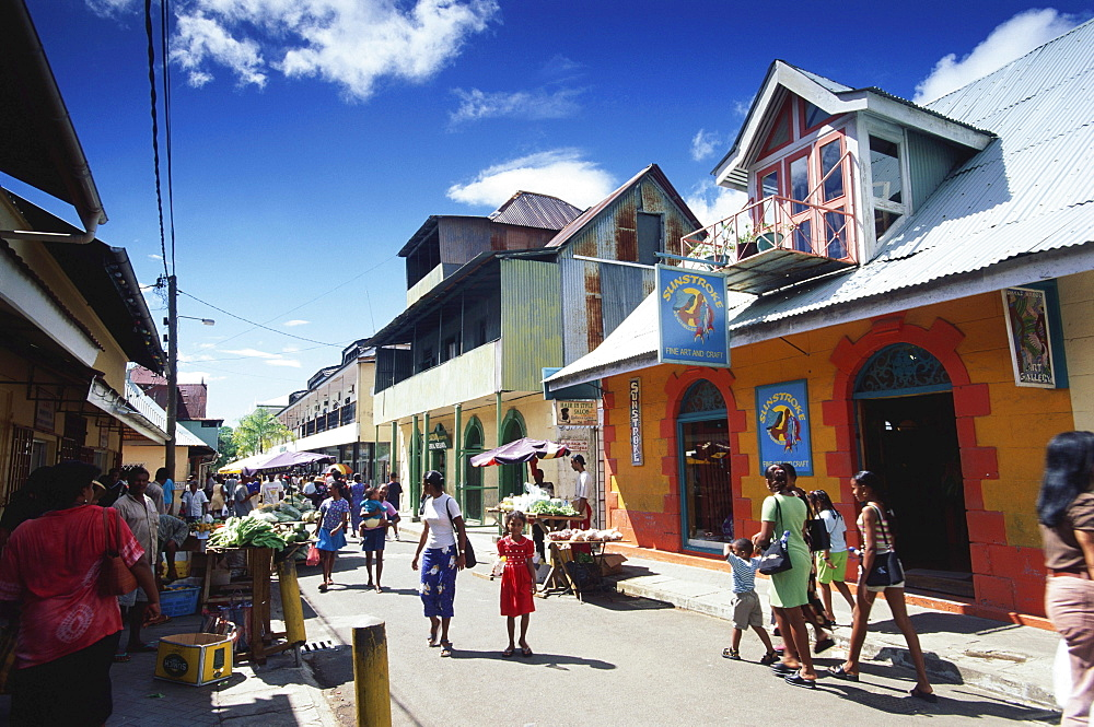 Street setting, People walking along the Market Street in Victoria, MahÈ Island, Seychelles