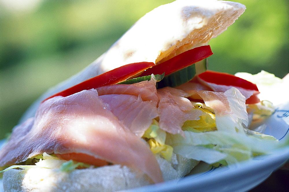 Salmon sandwich, close-up