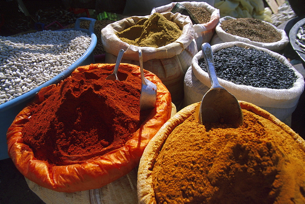 Spices and pulses sold at a market, Food, Douz, Tunesia